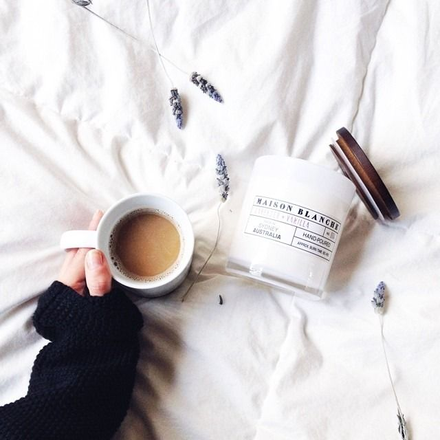 tea, lavender, a candle, a soft duvet.
