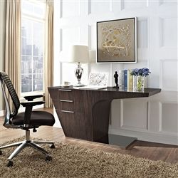modway furniture modern warp office desk in walnut plot your course full speed ahead with a office desk warp places your work into
