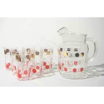 cutest ever.: Pitchers Glasses, Glasses Melted, Glassware Drinkwar Sets, Beverage Sets, Henry Vintage, Vintage Drinkwar, Glasses Sets, Retro Vintage Pitchers, Fostoria Pitchers