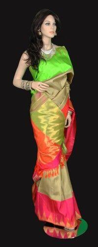Beige Pink and Green Border Kanjeevaram Saree
