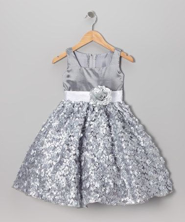 Take a look at this Silver Flower Sash Dress - Toddler & Girls on zulily today!