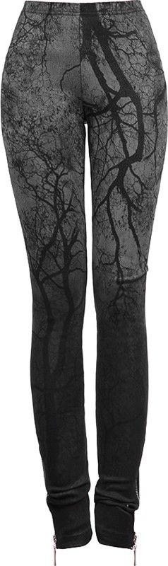 Punk Rave leggings black-grey branches print