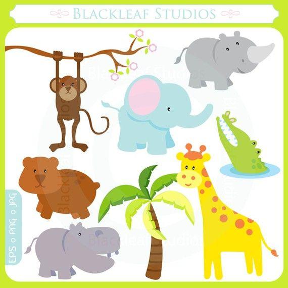 cute baby safari animals jungle mod animals noahs ark forest lion giraffe rhino hippo crocodile personal and commercial clipart