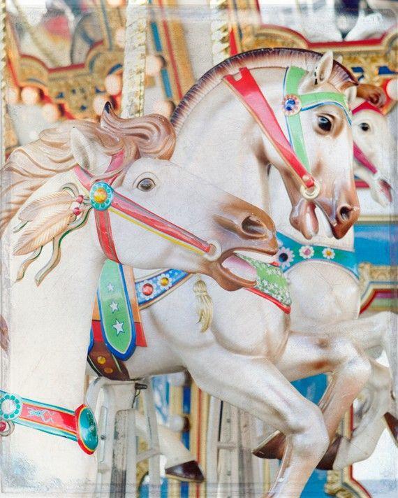 Carousel Horses Photograph, fair carnival nursery decor colorful ride merry-go-round art print 8x10 - Firebird