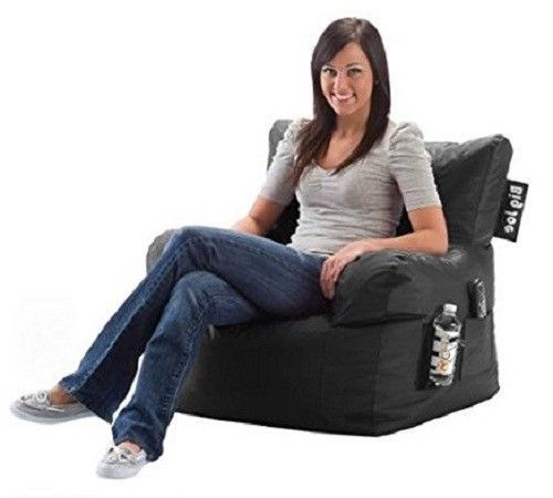 Dorm Room Chair Limo Black Drink Holder Bean Bag Seat Lounge Home Gaming  Camping Part 90