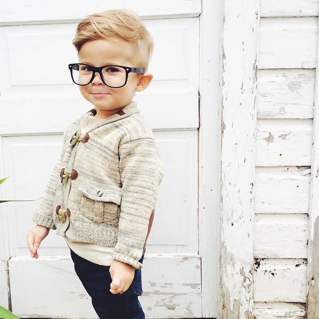 Toddler Boy Preppy Sweater Glasses One For The