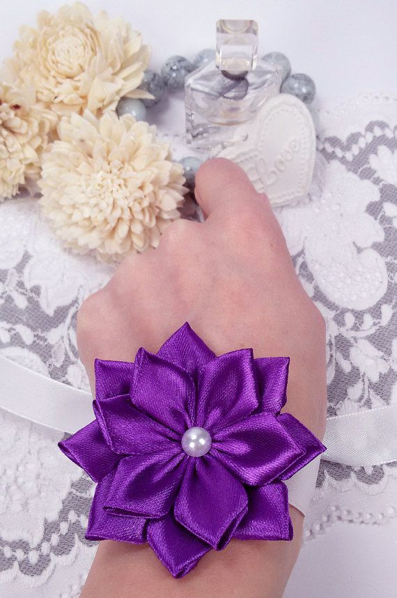 Purple flower corsage wedding wrist corsage purple by Rocreanique