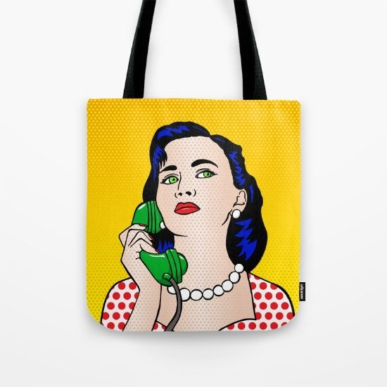 Tote Bag - The Phone Call #popart #totebag #society6