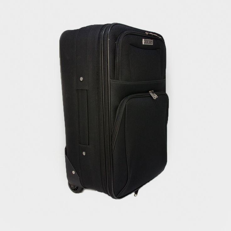 Látkový kufor na kolieskach v čiernej farbe