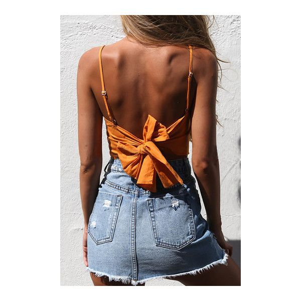 Yoins Square Neck Knot at Back Cami Top in Orange (41 BRL) ❤ liked on Polyvore featuring tops, sexy tops, brown cami, orange camisole, camisole tops and square neck tank top