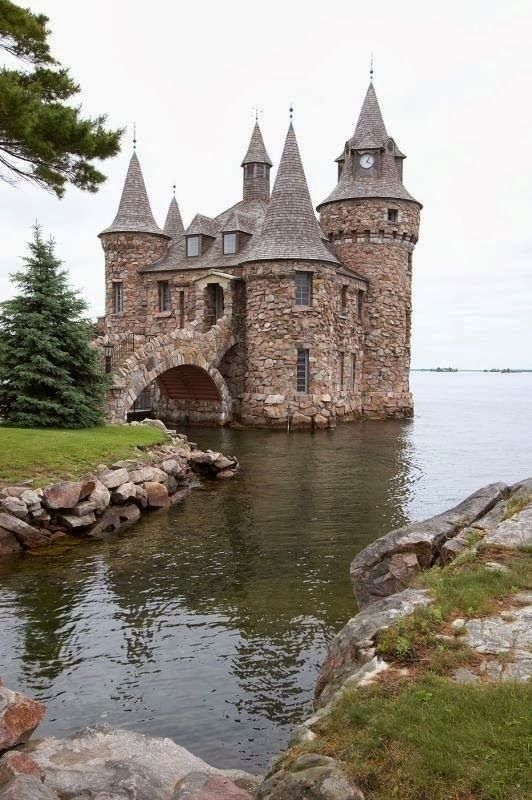 Boldt Castle, New York. At the turn-of-the-century, millionaire George C. Boldt, set out to build a full size Rhineland castle in Alexandria Bay, on picturesque Heart Island. The grandiose structure was to be a display of his love for his wife, Louise. After she died suddenly, the castle and various stone structures were left to the mercy of the wind, rain, ice, snow and vandals, for 73 years. This is one of the outlying buildings, now restored, as is the castle itself.