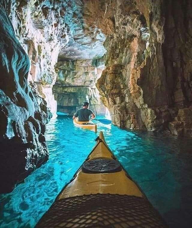 Cave kayaking in Pula, Croatia