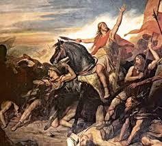 (34) 496 – Batalla de Tolbiac, cerca de París, entre francos y alemanes, con la victoria de los primeros. Se dice que Clodoveo I atribuyó su victoria al voto que había hecho de convertirse al cristianismo si ganaba con la ayuda del dios cristiano - Clodoveo se había casado con una princesa burgundia cristiana, llamada Clotilde. Clodoveo recibe entonces el bautizo con unos tres mil guerreros francos de las manos de San Remigio en Reims, el 25 de diciembre del año 496