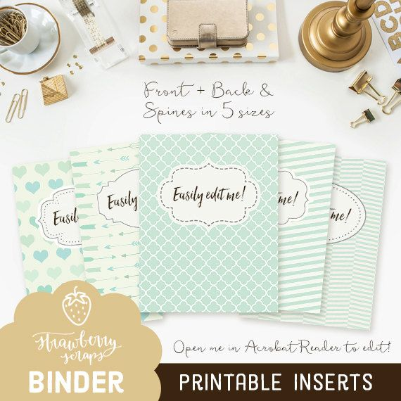 Printable binder cover: MINT 5x set Covers  by StrawberryScraps - Binder Cover Templates - Binder Covers