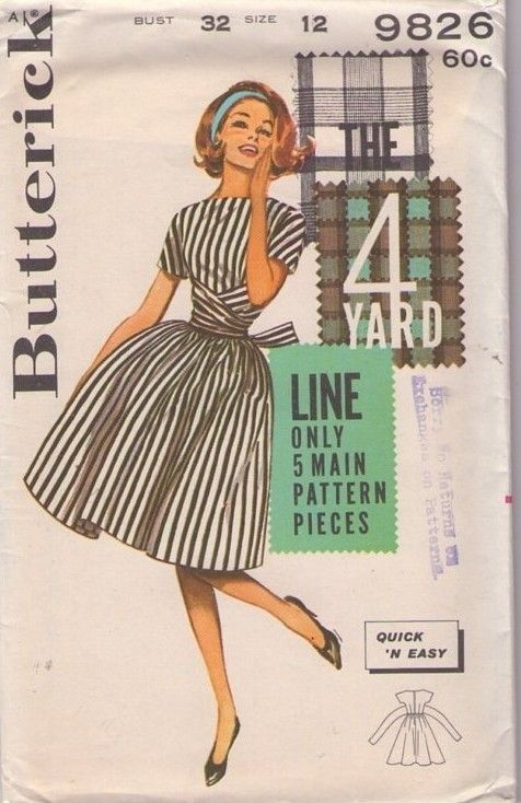 Vintage 1960's full flared skirt dress with bateau neckline, fitted bodice, kimono sleeves & wrap sash sewing pattern - Butterick 9826