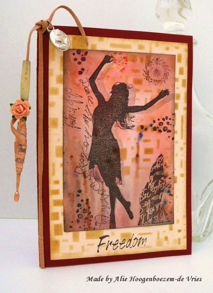 Stamped  card with De Stempelwinkel stamps, Bister, SB Colorit and Distress Inks, made by Alie Hoogenboezem-de Vries