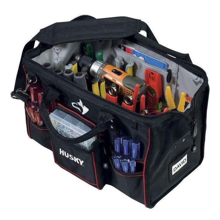 Husky Heavy Duty Storage Organizer Tote 18 Inch L Canvas Tool Bag Electrician…