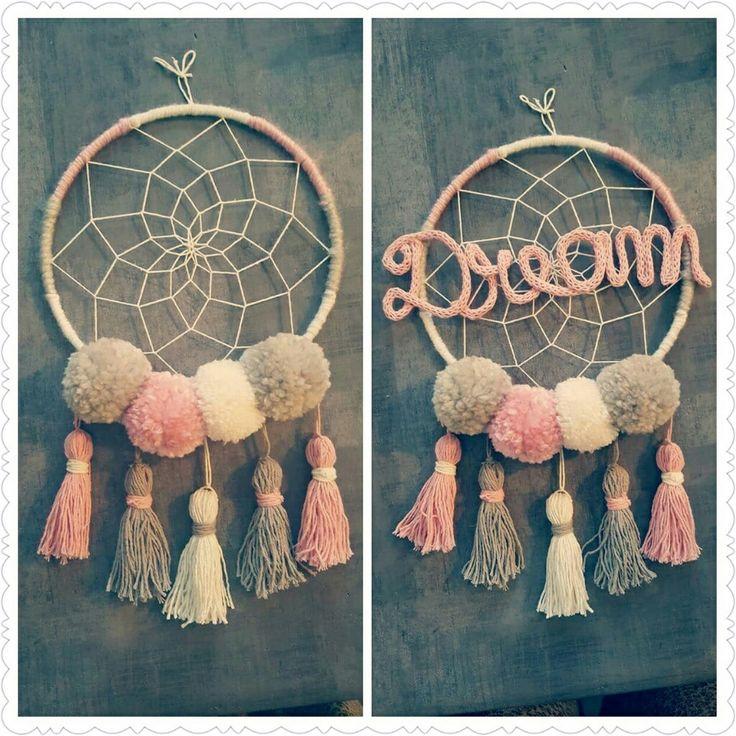 l 39 attrape r ves pompon tricotin girly loisirs cr atifs dream catcher tutorial crochet et. Black Bedroom Furniture Sets. Home Design Ideas