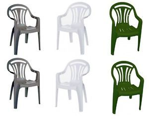 PLASTIC CHAIR LOW BACK PLASTIC PATIO GARDEN CHAIR PACK OF 2,4,6 GREEN & WHITE