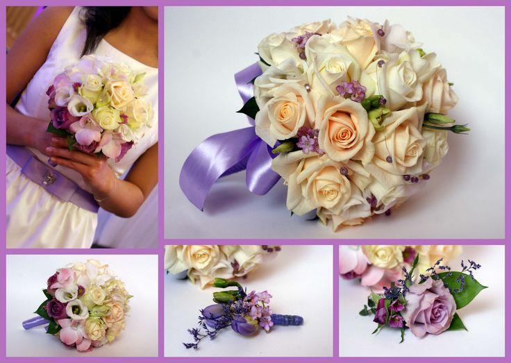 Klasyczny bukiet ślubny z dodatkiem pudrowego fioletu.