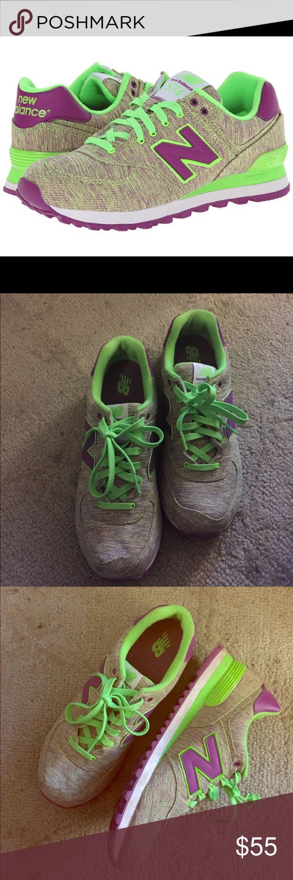 """NEW BALANCE Sneakers in Glitch (green and purple) Super comfy new balance sneakers in size 10 women's. In """"Glitch"""", (green and purple) and in preloved condition. Insides are clean. Some dirt on the soles. A great buy! New Balance Shoes Sneakers"""