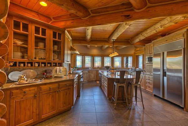 log-private-lake-house6  Five-bedroom, five-bath residence near Whitefish Lake for sale