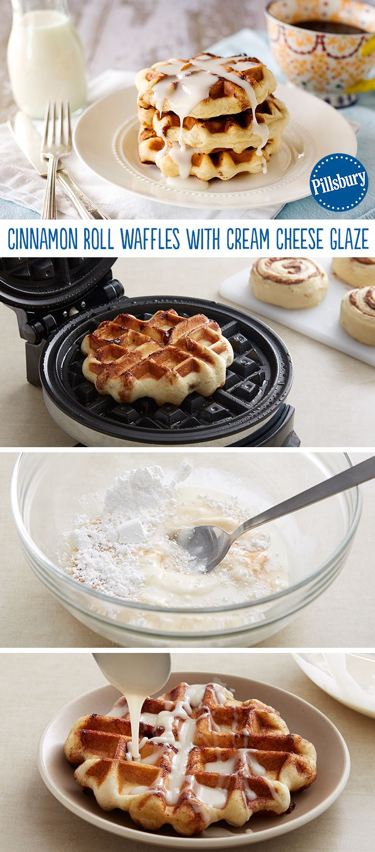 Weekend breakfast will never be the same. Try making cinnamon rolls with your waffle iron! It's a fun, easy idea that kids will love. Don't forget to pour icing (best part!) over the top.