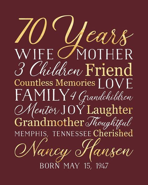 70th Birthday Ideas For Mom