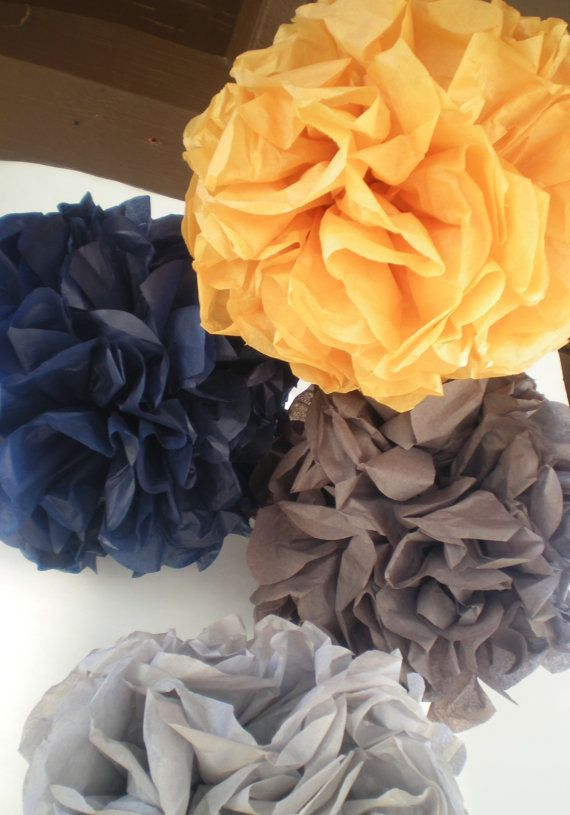 "5 pom poms, mustard yellow, navy blue, gray, 9"" diameter on Etsy, $14.50"