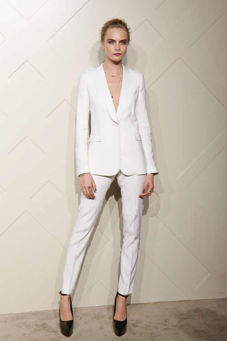 Cara Delevingne in a Burberry White suit - Burberry's Art of the Trench launch, Shanghai - August 29 2013.