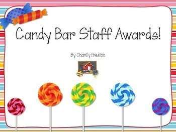 Need some ideas for getting staff morale up? Try these 10 fun (and free) candy bar awards specifically for staff members! Read all about these awards at THIS POST!If you enjoy this product, feel free to see more ideas at Organized Classroom, like The OC Blog's Facebook Fan Page, follow Charity Preston on Twitter, Pinterest, or follow my TpT Store!