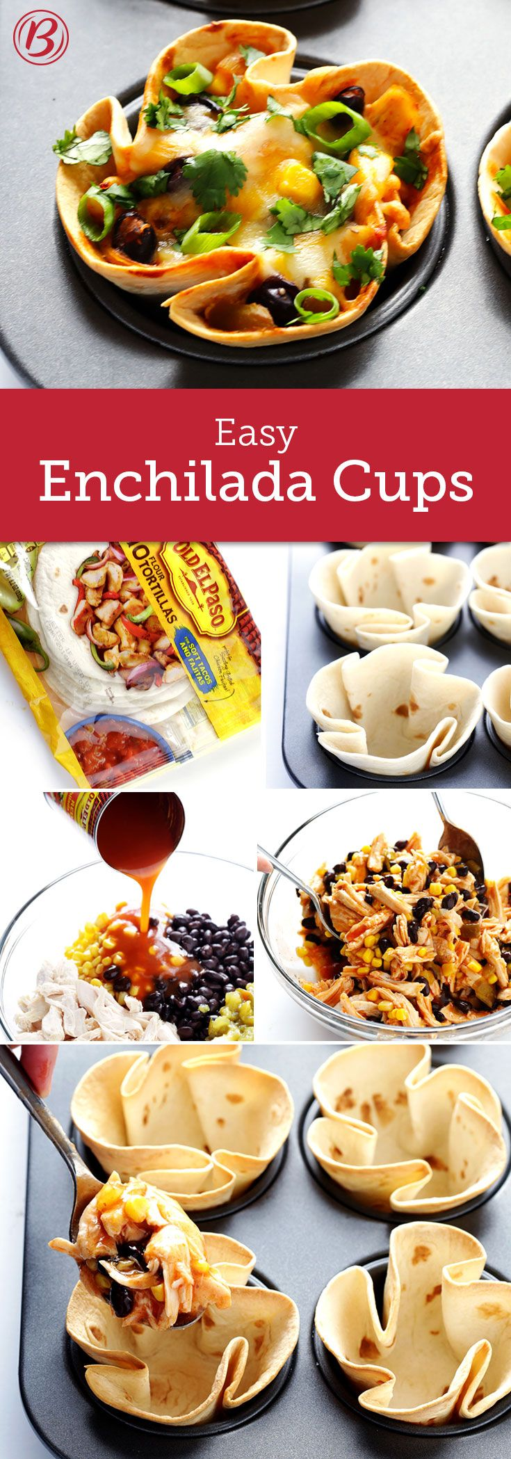 Easy-to-eat enchiladas? Don't mind if we do! All it takes is a package of Old El Paso flour tortillas and your favorite enchilada ingredients, and these delicious cups will be table-ready in no time.