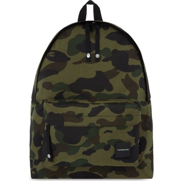 A BATHING APE Camo print Cordura® backpack ($305) ❤ liked on Polyvore featuring bags, backpacks, backpack, green, camouflage backpack, day pack backpack, camo bag, padded backpack and camo backpack