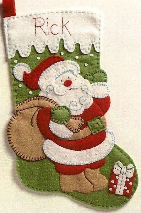 "Bucilla Discontinued SANTA Felt Christmas Stocking Quick & Easy Kit-15"" New"