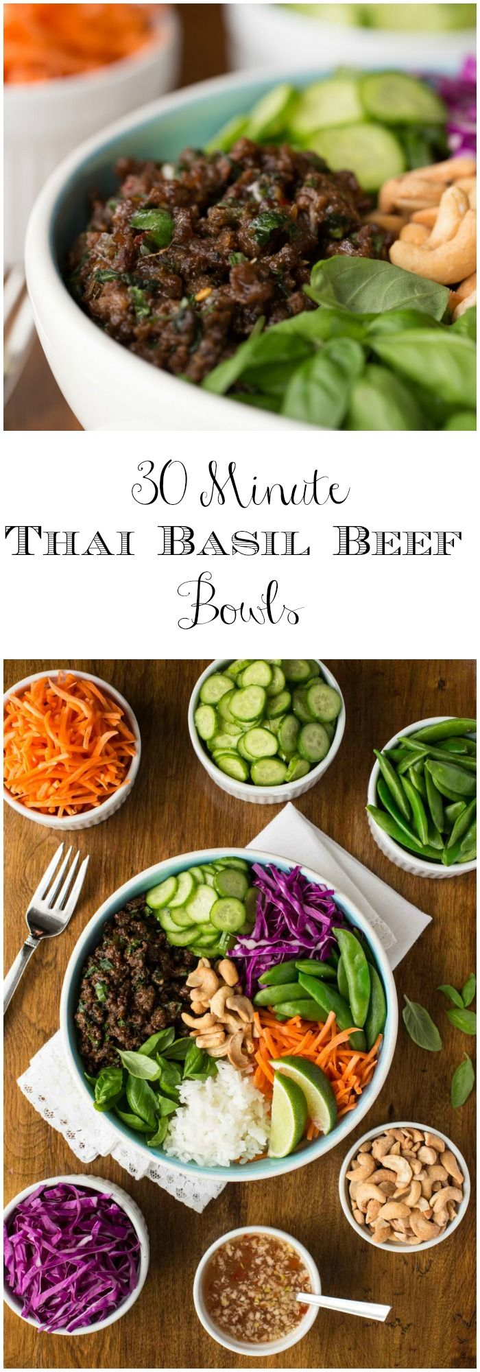 Basil Beef Rice Bowls - an easy, Thai-inspired meal in a bowl that's fresh, vibrant, healthy and super delicious!