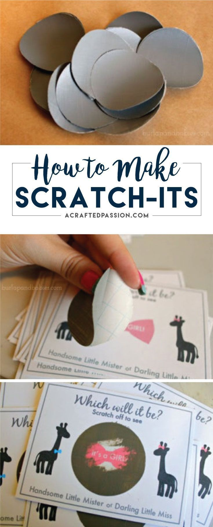 Looking for a creative way to announce the gender of your baby to family and friends? Make these easy gender reveal scratch-its. FREE printable included.
