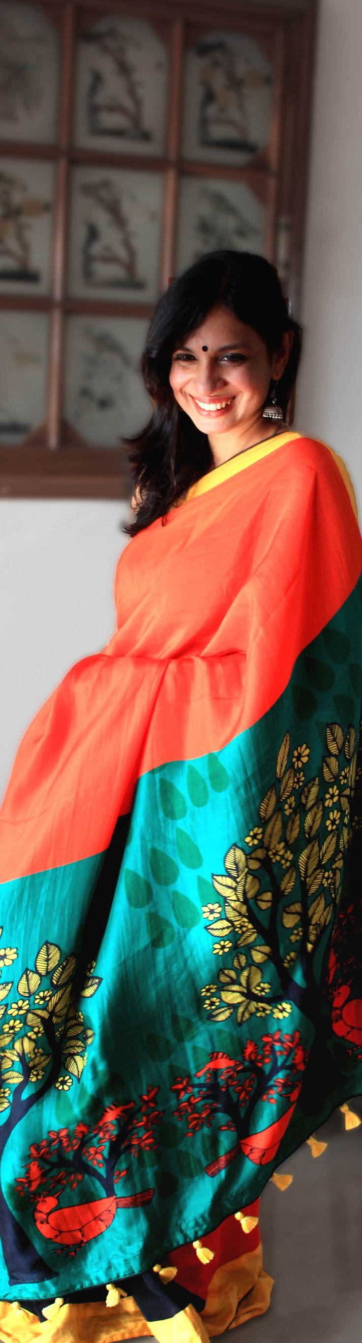 Colour block on Silk. UDD sarees. Handwoven with original artwork.