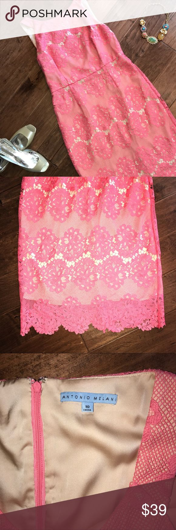 Antonio Melani Lace Overlay Maxi Dress Antonio Melani Pink lace overlays a full length nude lining. In excellent condition. Back side zipper. ANTONIO MELANI Dresses Maxi