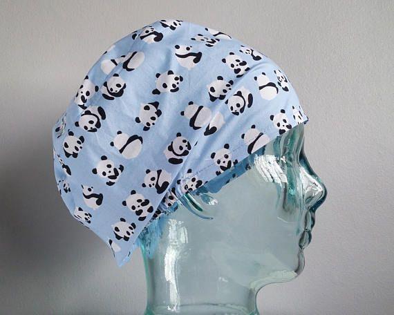 Sky Blue Panda Elastic Back Scrub Hat Scrub hats scrub