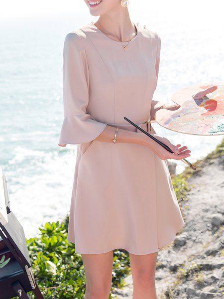 Shop Mini Dresses - Pink Solid Crew Neck 3/4 Sleeve Pockets Mini Dress online. Discover unique designers fashion at StyleWe.com.