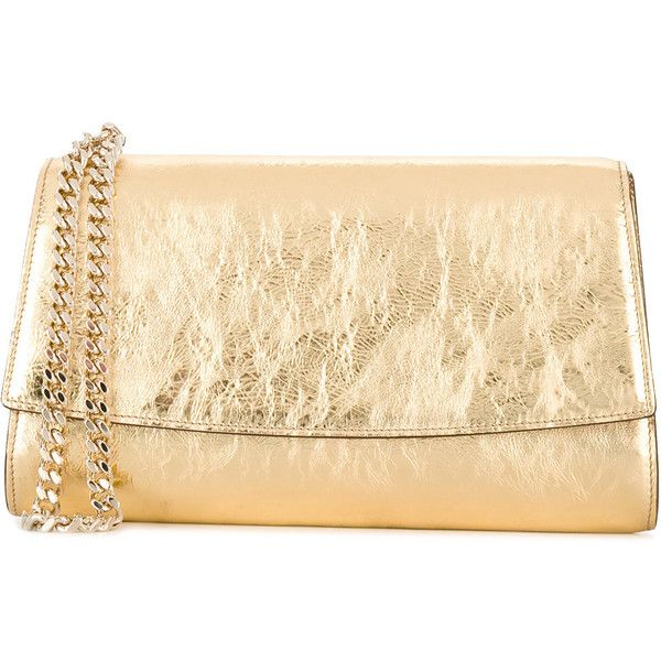 Sergio Rossi Metallic Clutch Bag (51,755 INR) ❤ liked on Polyvore featuring bags, handbags, clutches, sergio rossi handbags, metallic leather purse, beige handbags, beige clutches and beige leather handbag