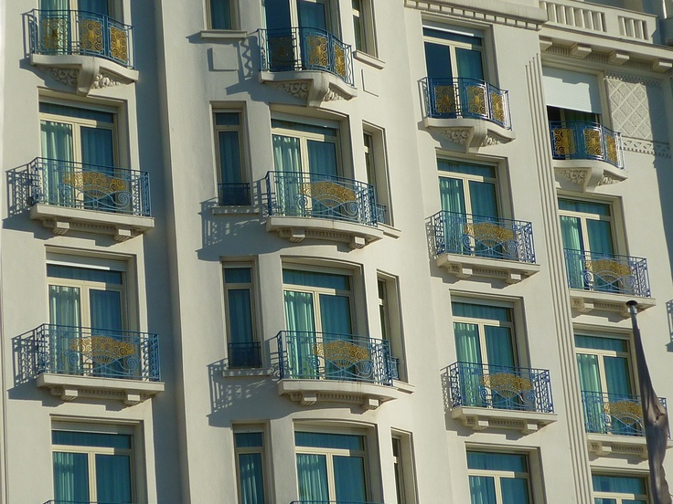 Cannes - Balconies of the classic Martinez hotel