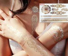 Oro productos del sexo tatuaje collar pulseras tatoo metal tatuaje temporal mujeres flash metálico de plata dorado falso tatuajes(China (Mainland))