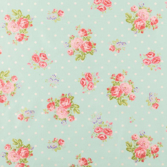 Rose Bouquet & Polka Dot Cotton Calico Fabric