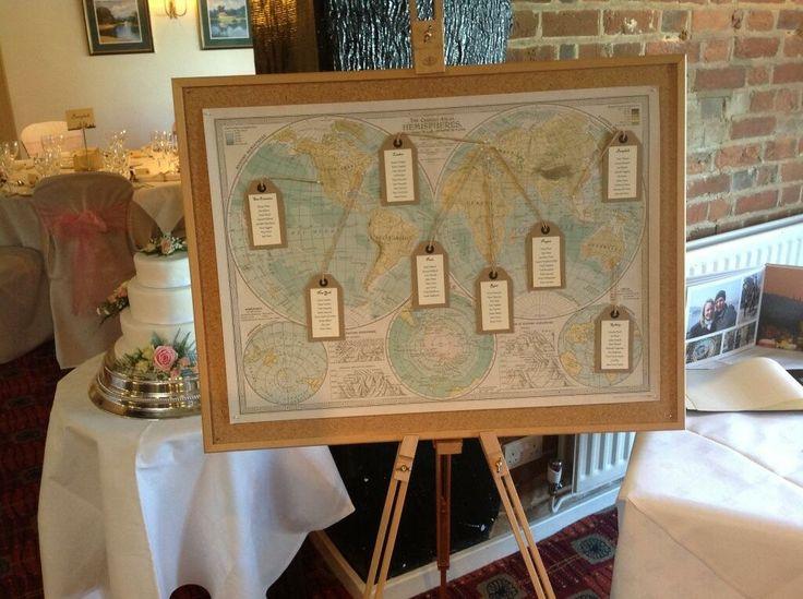 Stunning world map themed wedding seating plan.