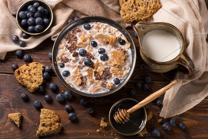 muesli with blueberry by peterzsuzsa on @creativemarket