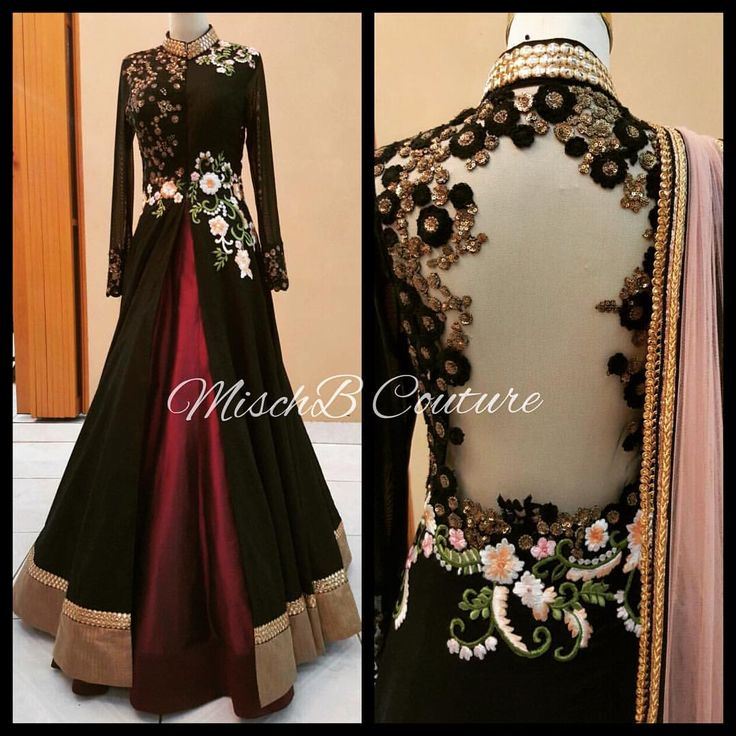 Misch B contoure Black floral jacket with maroon lehenga