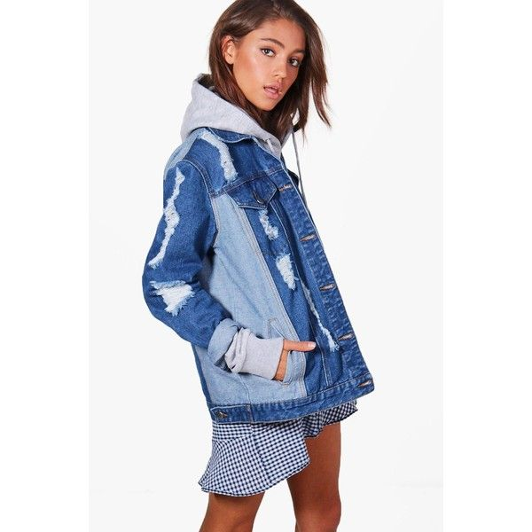 Boohoo Jodie Contrast Oversize Denim Jacket ($44) ❤ liked on Polyvore featuring outerwear, jackets, blue bomber jacket, blue puffer jacket, denim bomber jacket, blue jackets and oversized jean jacket