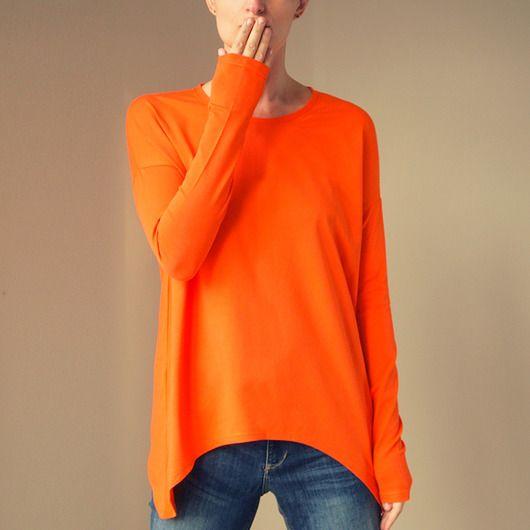bluzki - t-shirty - damskie-Wąski rękaw bluzka Pomarańczowa