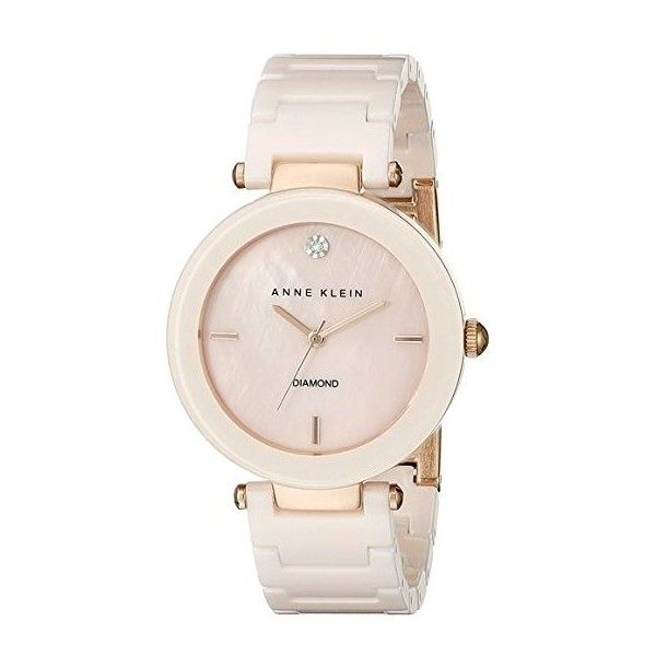Anne Klein Women's AK/1018PMLP Diamond-Accented Light Pink Watch With... ($99) ❤ liked on Polyvore featuring jewelry, watches, polish jewelry, ceramic watches, diamond accent jewelry, anne klein jewelry and ceramic jewelry